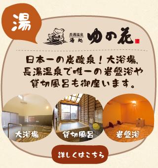 「ゆの花」日本一の炭酸泉!大浴場や露天風呂、貸切風呂(家族風呂)長湯温泉で唯一の岩盤浴も御座います。